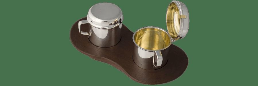 Olie-eddikesæt sølv på teakbakke Kay Bojesen